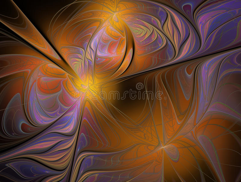 抽象波浪样式背景 橙色,黄色和紫罗兰色纹理 免版税库存图片