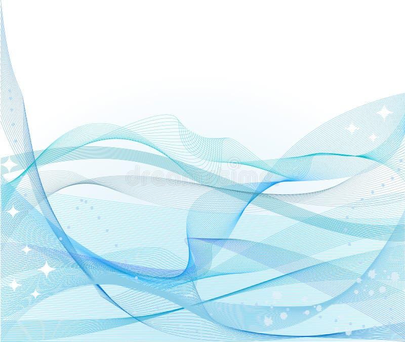抽象波浪背景蓝色的向量 库存例证