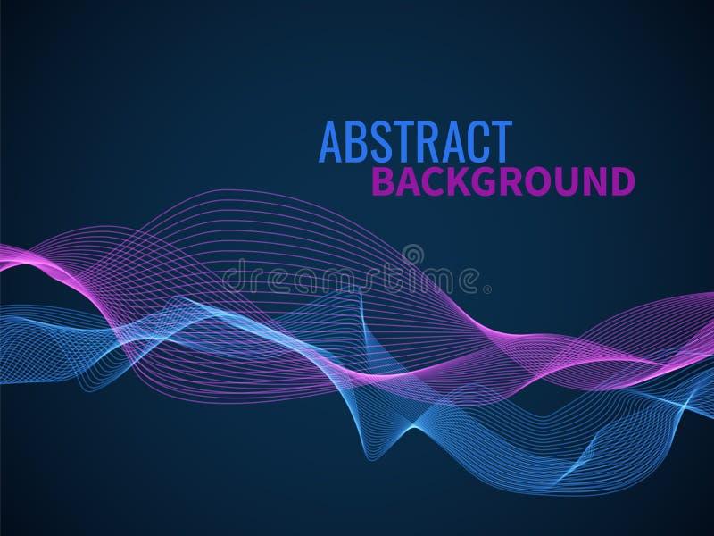 抽象波浪背景 图表线声波或合理的流程音乐波浪,颜色动态形状波浪混合传染媒介纹理 向量例证