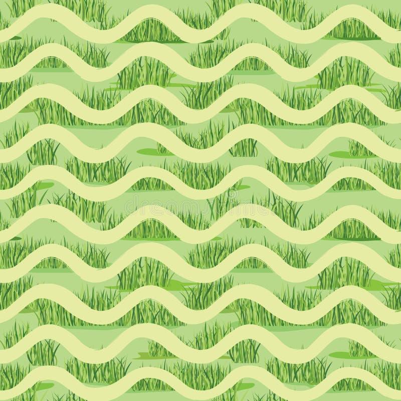 抽象波浪草醉汉铺磁砖了样式 背景节假日热带海报的夏天 向量例证