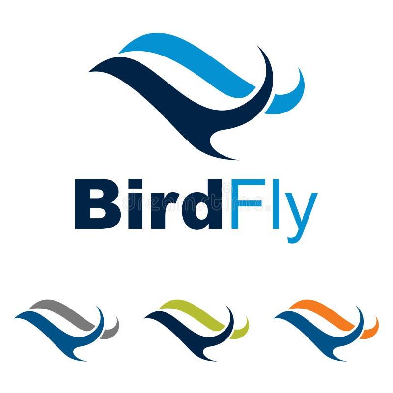 抽象波浪鸟飞行旅行概念商标标志 向量例证