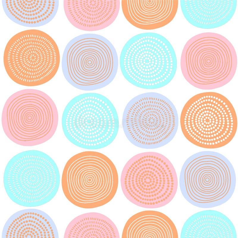 抽象派五颜六色的土质圈子无缝的样式 库存例证