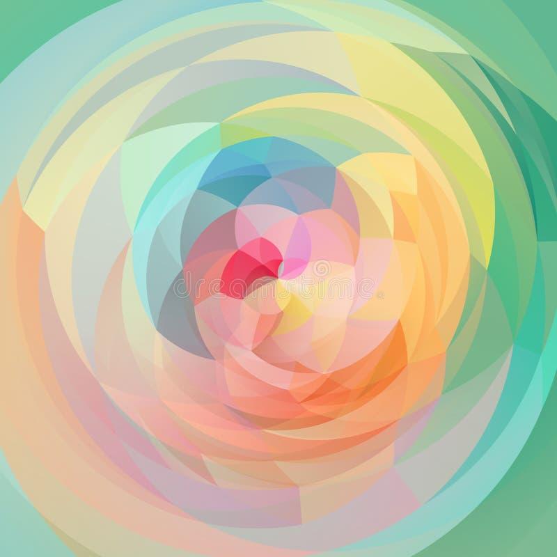 抽象派几何漩涡背景-色的充分的光谱彩虹-春天绿色,黄色,桃红色,蓝色,橙色 库存例证