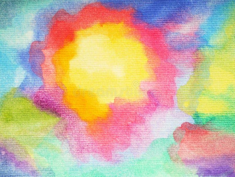 抽象派太阳,晴朗的彩虹五颜六色的水彩绘画背景 库存例证