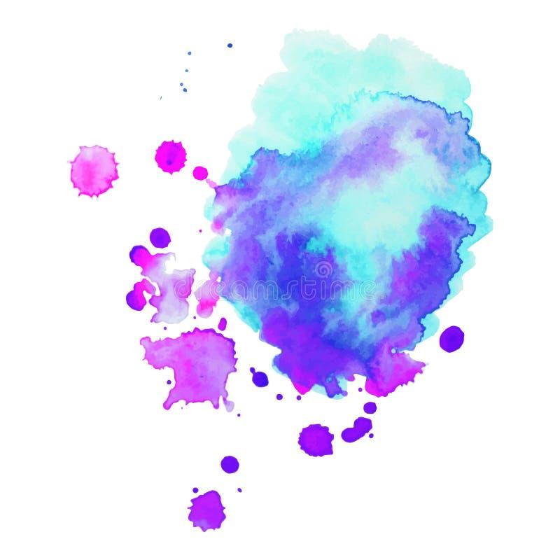 抽象派手油漆隔绝了在白色背景的水彩污点 水彩横幅 免版税库存照片