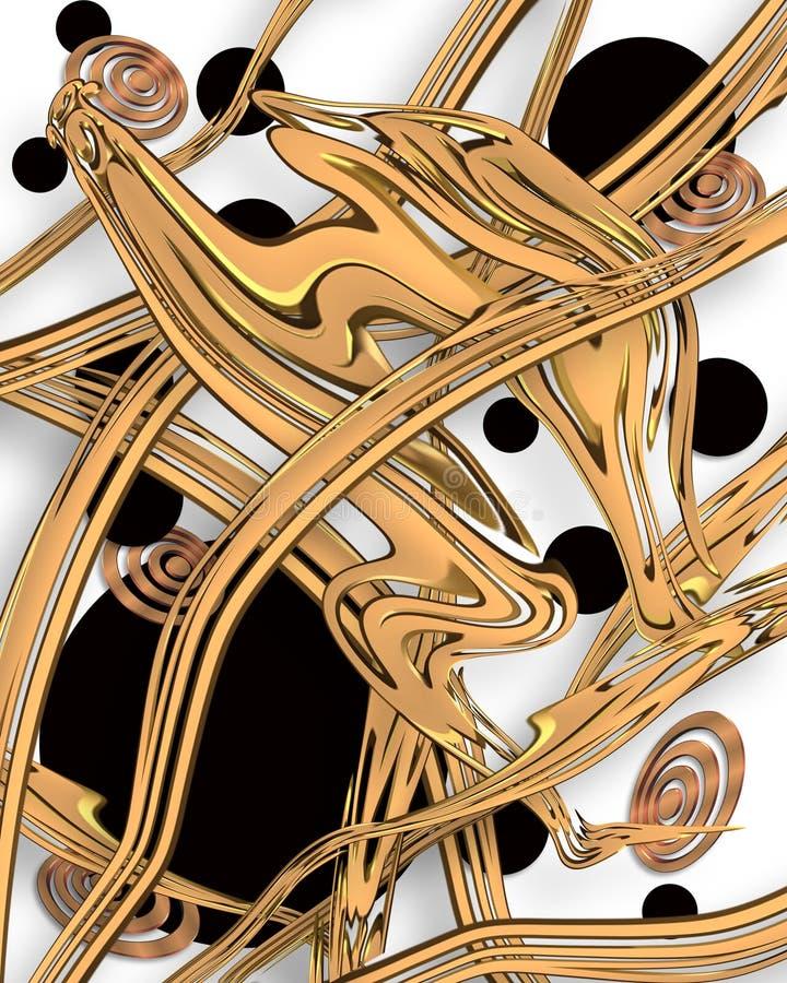 抽象派现代黑色的金子 向量例证