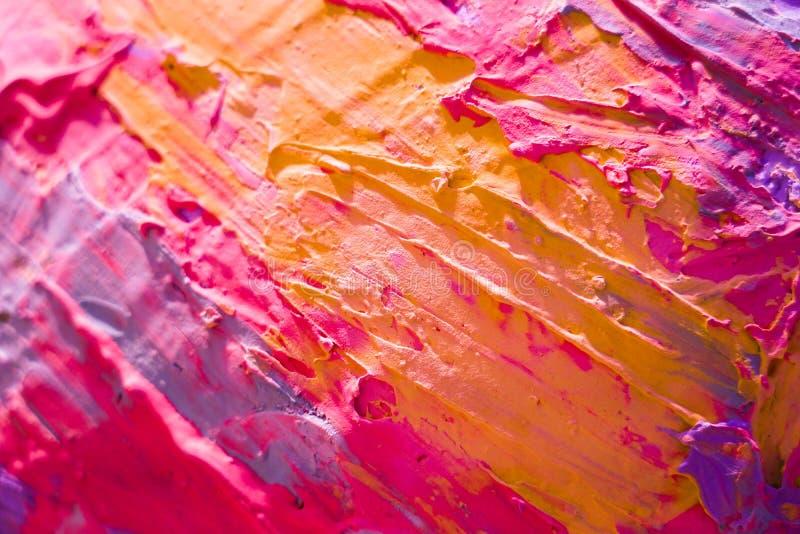 抽象派背景 在画布的油画 多彩多姿明亮 图库摄影
