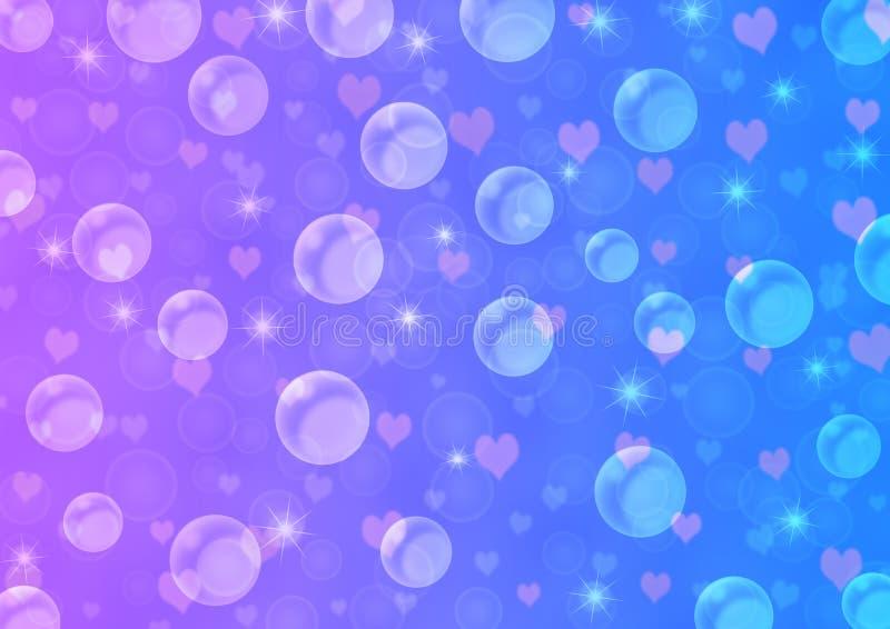 抽象浮动泡影、心脏和闪闪发光在蓝色和紫罗兰色梯度背景中 皇族释放例证