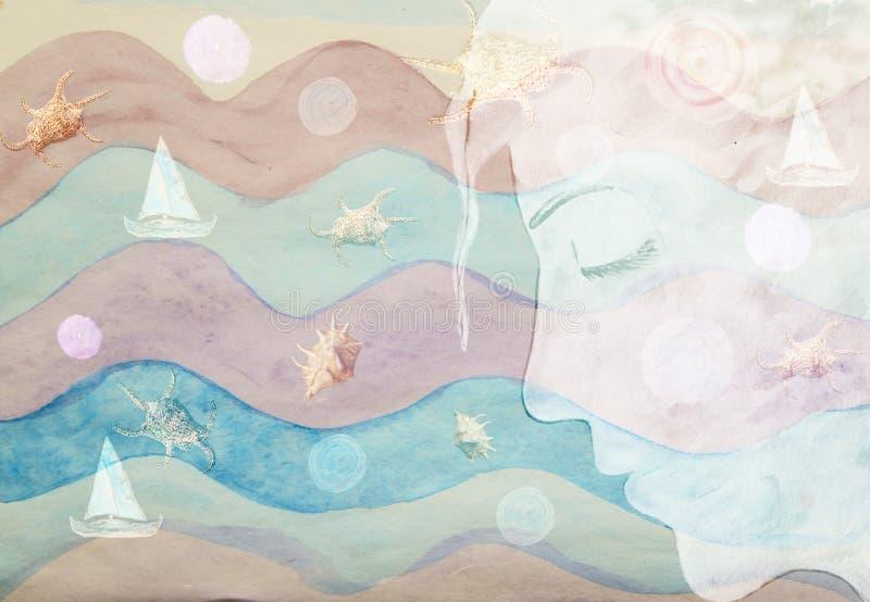 抽象海图片女孩面孔水彩 向量例证