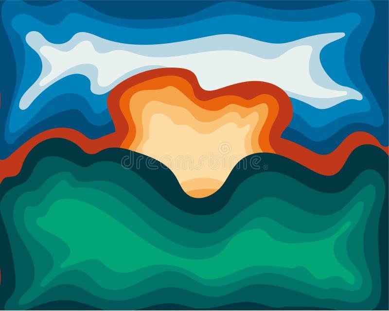 抽象海报背景明亮的未来派现代黎明 向量例证