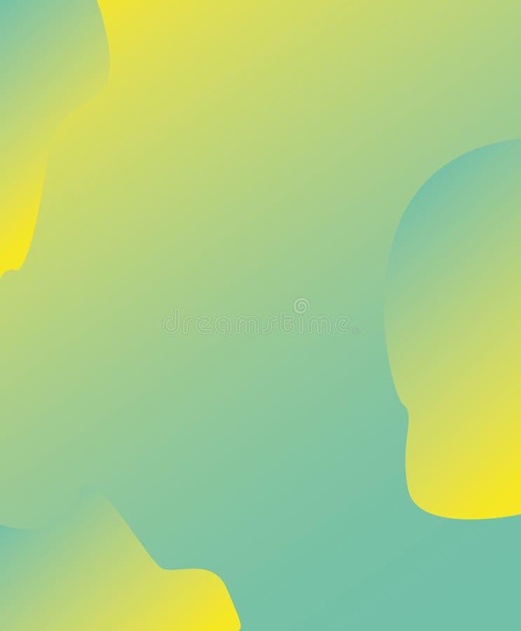 抽象海报设计 盖子结构的几何五颜六色的形状 梯度可变的颜色时髦背景 绿色和黄色 皇族释放例证