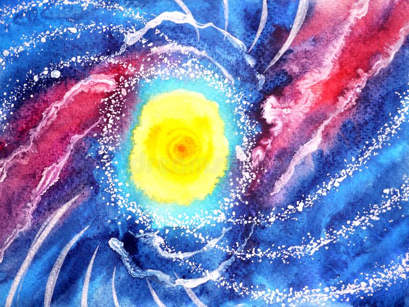 抽象海海浪,太阳宇宙水彩绘画 免版税图库摄影