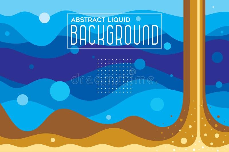 抽象液体与蓝色的波浪未来派背景和布朗颜色导航例证 库存例证