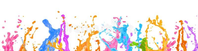 抽象液体油漆飞溅在白色背景 免版税库存照片