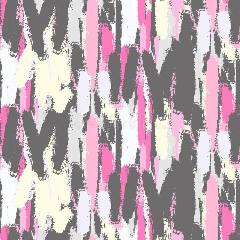 抽象淡色刷子抚摸无缝的样式 向量例证