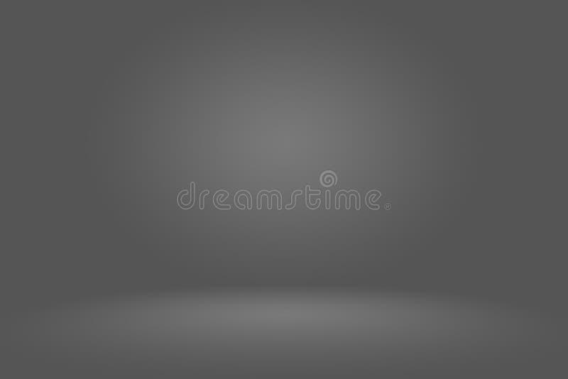抽象深灰模板空白黑暗的梯度墙壁 用于蒙太奇的深灰空的室演播室梯度或 向量例证