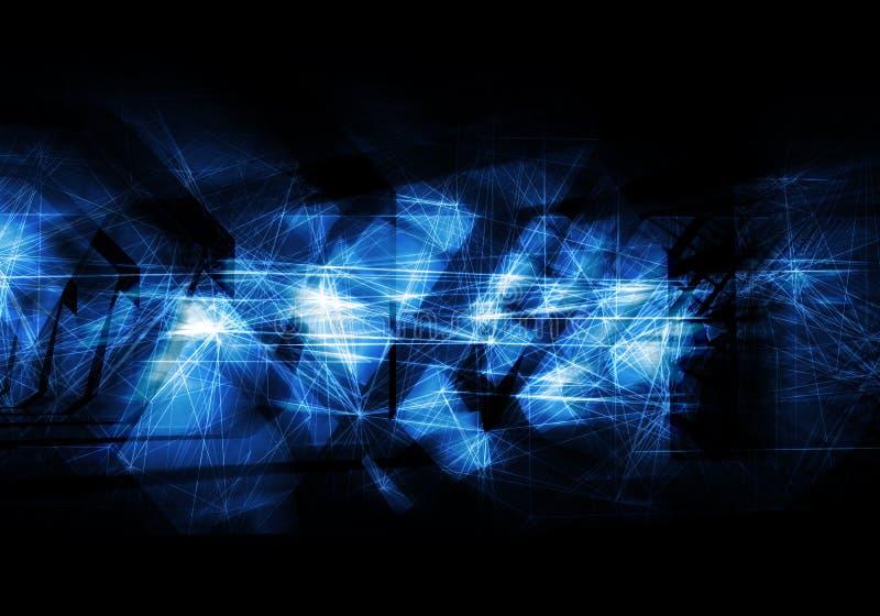 抽象深蓝艺术性的数字式背景 库存例证