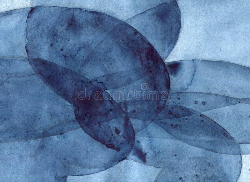 抽象深蓝水彩背景,与透明曲线的手画纹理塑造 库存例证
