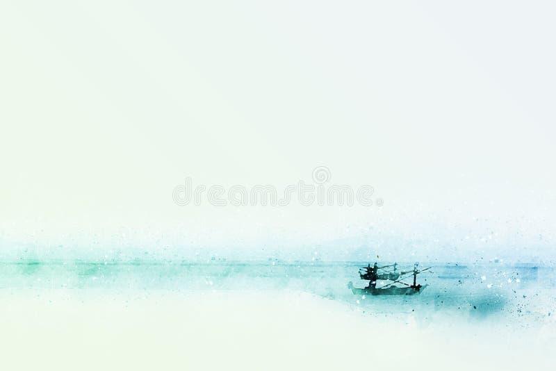 抽象渔长的小船水彩绘画背景 皇族释放例证