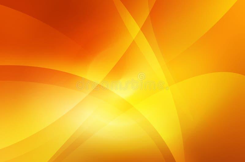 抽象温暖的曲线橙色和黄色背景  库存例证