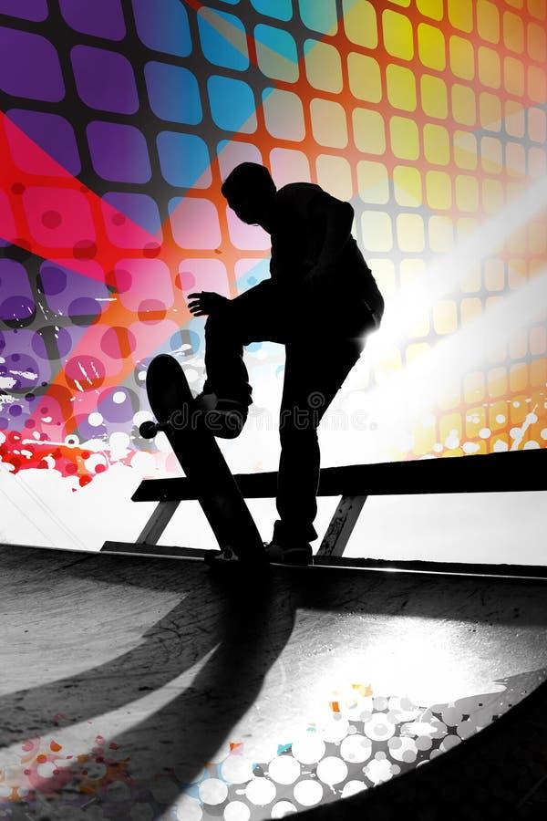 抽象溜冰板者 向量例证