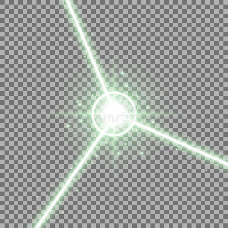 抽象激光束,绿色 库存例证