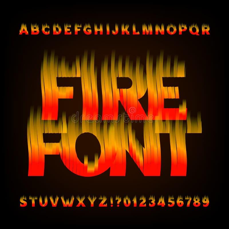 抽象火字母表字体 发火焰作用信件和数字在黑暗的背景 皇族释放例证