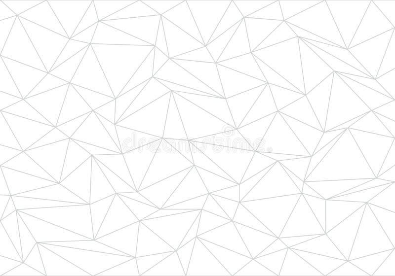 抽象灰色线在白色背景传染媒介的三角多角形 向量例证