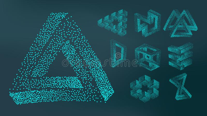 抽象点刻法浪花几何形象集合传染媒介 库存例证