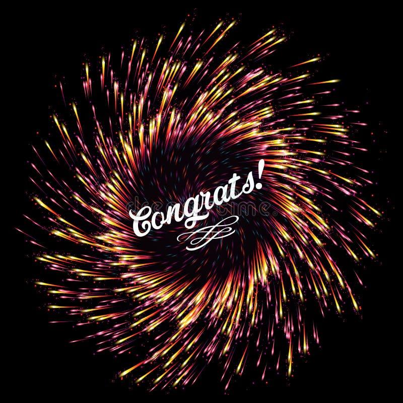 抽象烟花闪光在黑暗的背景的 明亮的爆炸欢乐光 祝贺 欢乐新年` s致敬 皇族释放例证