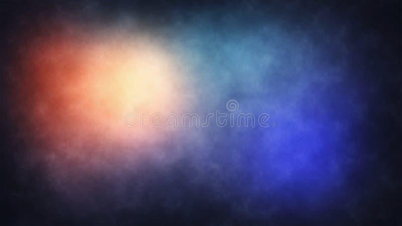 抽象烟雾颜色背景-微妙的蓝色桔子和小野鸭 库存例证