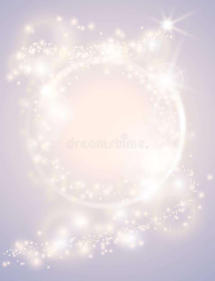 抽象焕发光火花圈子框架明亮的圣诞节背景 闪耀的欢乐设计海报 闪烁不可思议的圆的边界 库存例证