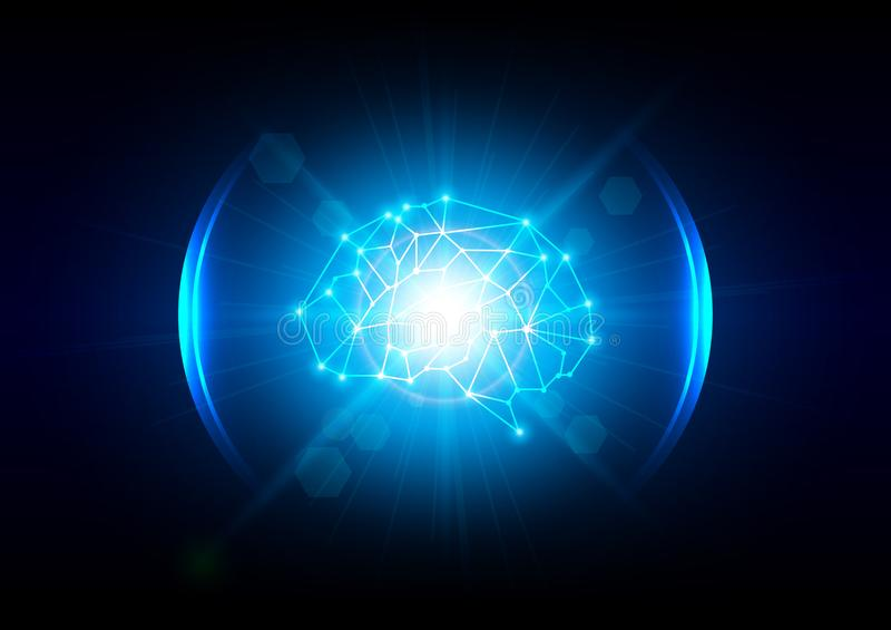 抽象照明设备数字式脑子技术概念 向量例证