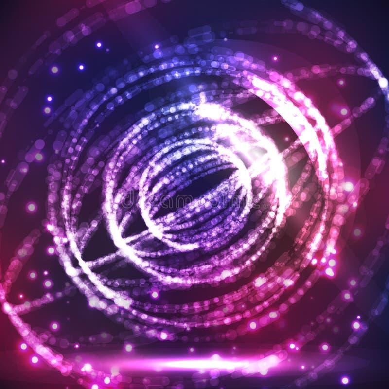 抽象爆炸的球形 发光的点和小点 与发光的作用的发光的小点 未来派技术样式 典雅的Backgroun 库存例证
