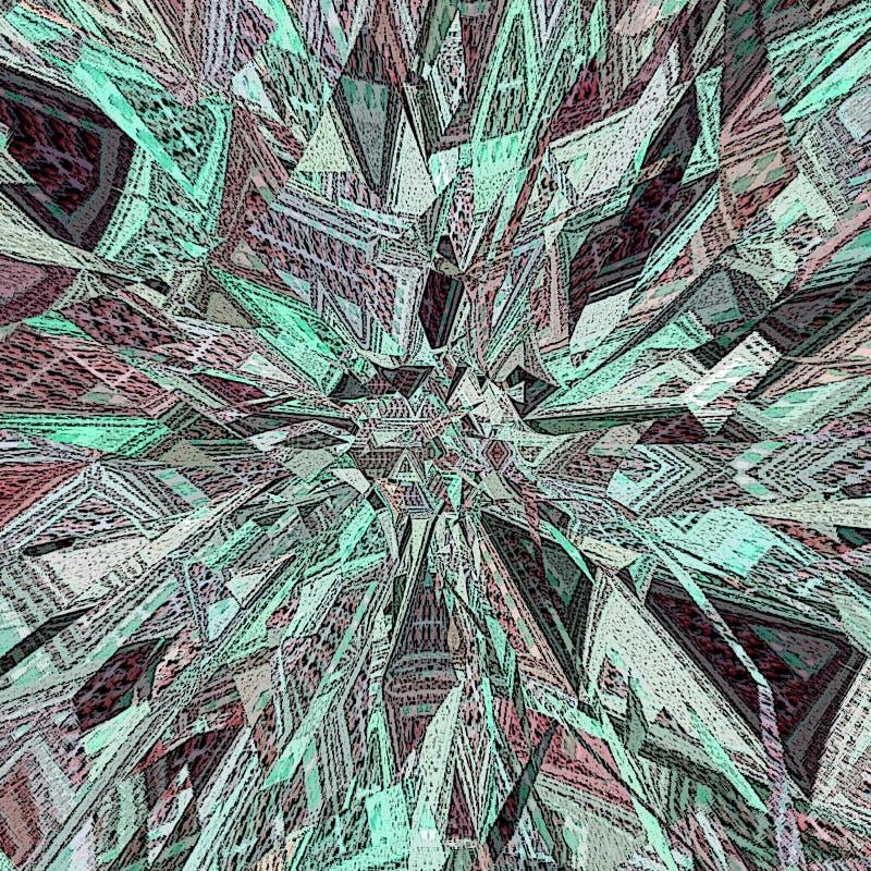 抽象爆炸 残破的墙纸 在小野鸭和绿松石的霓虹抽象背景 爆炸星 皇族释放例证