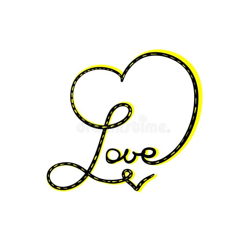抽象爱心脏标志字法 黄色黑传染媒介书法例证 手拉的婚姻的项链首饰 ?? 库存例证