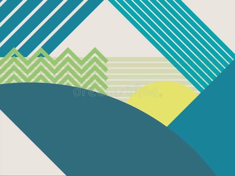 抽象物质设计风景传染媒介背景 山和森林多角形几何形状 皇族释放例证