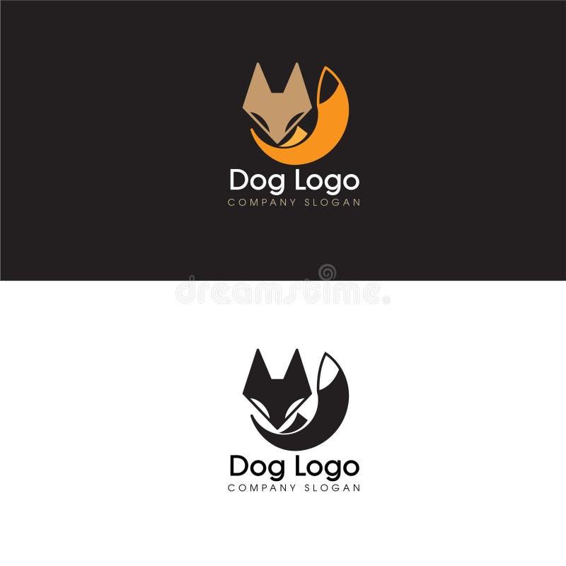 抽象狗商标设计元素和Fox象 皇族释放例证