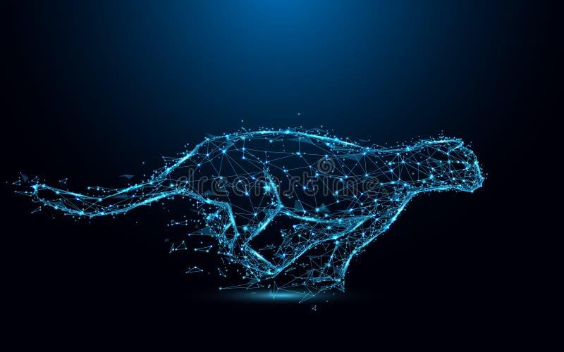 抽象猎豹连续形式线和三角,在蓝色背景的点连接的网络 例证传染媒介 向量例证