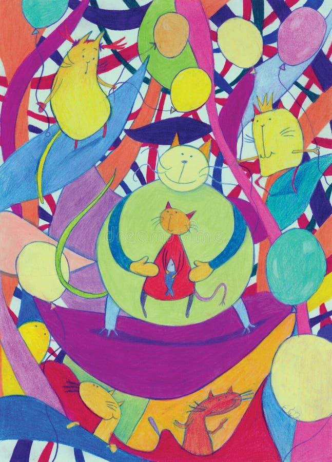 抽象猫五颜六色的幻想许多 皇族释放例证