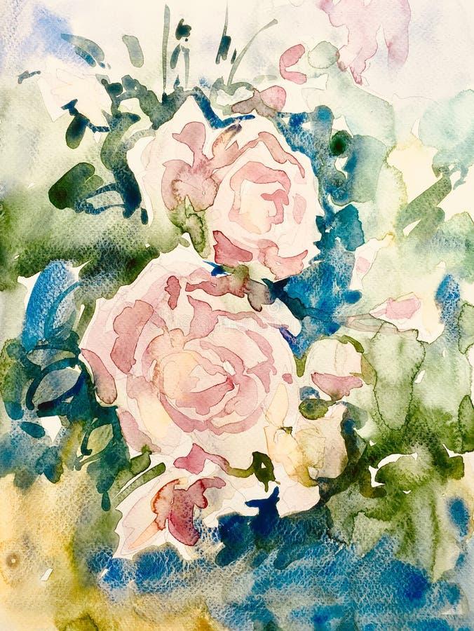 抽象玫瑰花原始的水彩绘画  库存例证