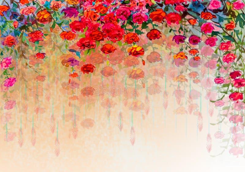 抽象玫瑰水彩绘画 皇族释放例证