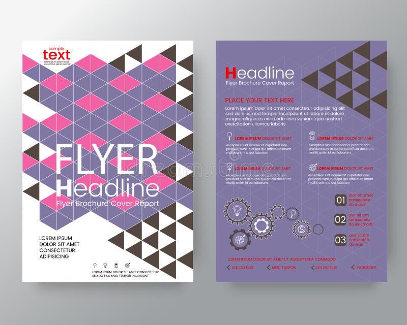 抽象现代五颜六色的三角传染媒介小册子飞行物设计版面模板 向量例证