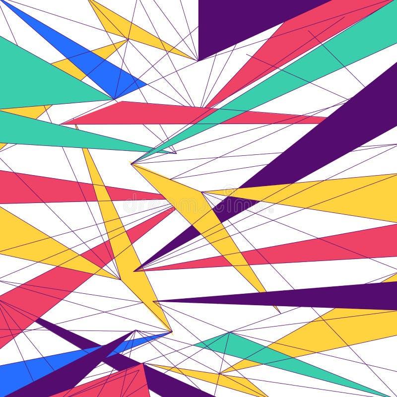 抽象现代五颜六色的线三角未来派时髦设计 皇族释放例证