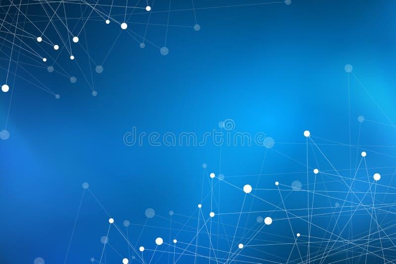 抽象现代几何背景 被连接的三角 结节背景 您的设计的盖子 蓝色发光的雾 传染媒介il 皇族释放例证
