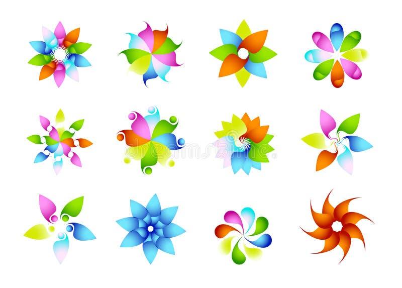 抽象现代圈子商标、彩虹、花,元素,花卉,套花形状传染媒介和太阳标志象传染媒介设计 皇族释放例证