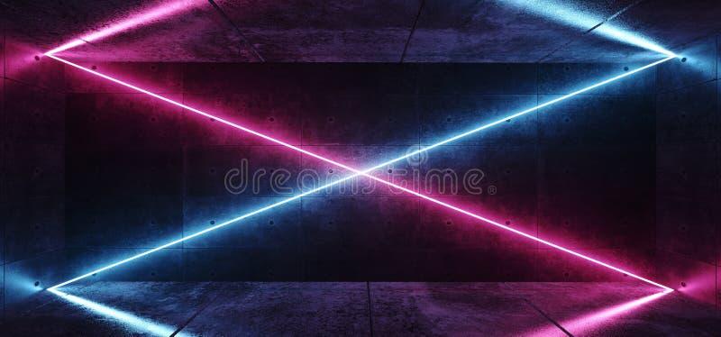 抽象现代外籍人俱乐部霓虹X塑造了紫色桃红色蓝色发光的管线对角空的空间黑暗的难看的东西混凝土反射 库存例证