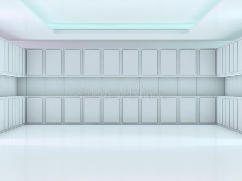 抽象现代建筑学背景,空的露天场所内部 3d 皇族释放例证