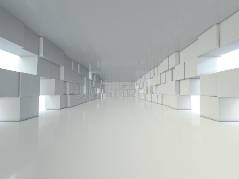 抽象现代建筑学背景,空的露天场所内部 3d 向量例证