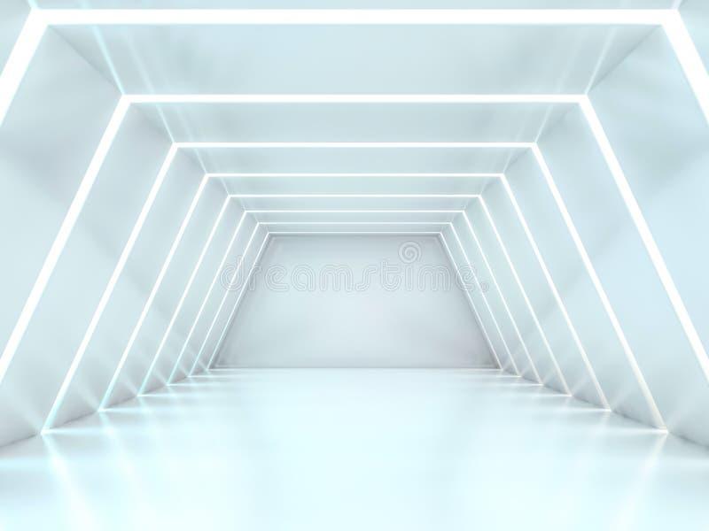 抽象现代建筑学背景,空的露天场所内部 3d 库存例证